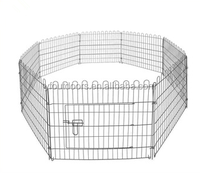 Stocked metal dog kennels