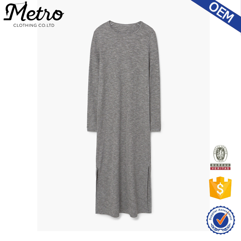 Wholesale Cotton Polyester Blend Long Sleeve Grey Midi Dresses