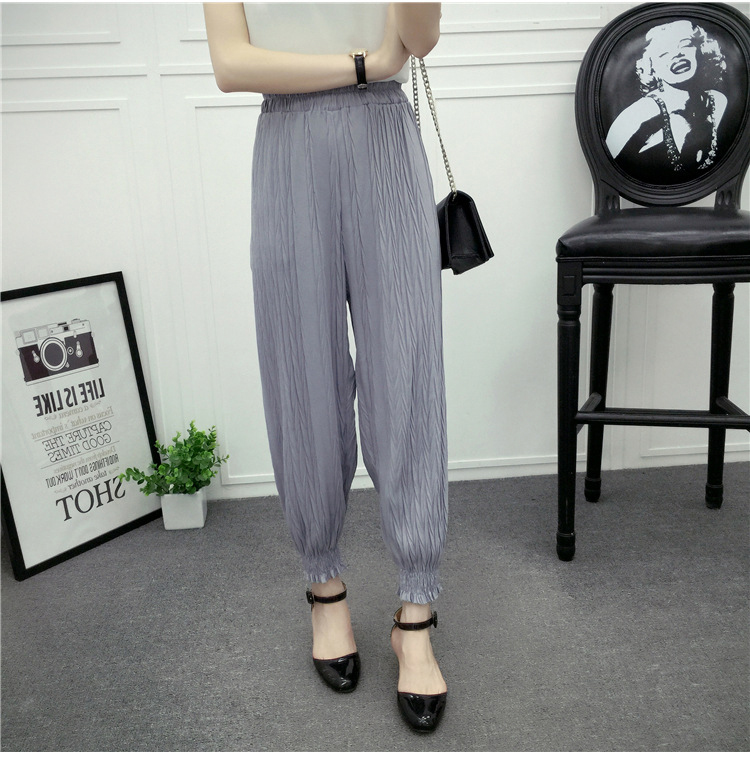 Chiffon Embossed Pants Thin Slim Loose Leisure Bloomers Women Leggings B9581