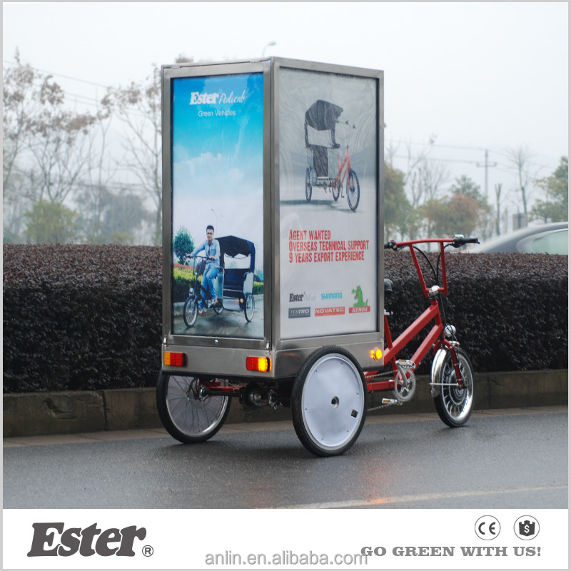 Pedal/Electric ESTER advertising tricycle with LED