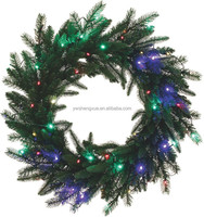 Top Grade PE Mixed PVC Christmas Garland With Colorful Led Lighted Christmas Wreath
