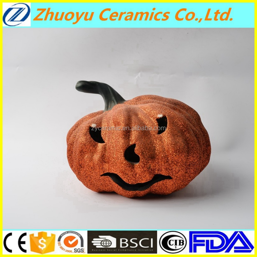 Led Decoration Glitter Powder Halloween Ceramic Pumpkin
