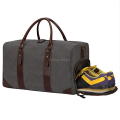Wholesale Canvas Leather Trim Travel Tote Duffel Shoulder Handbag Weekender with Shoe Compartment