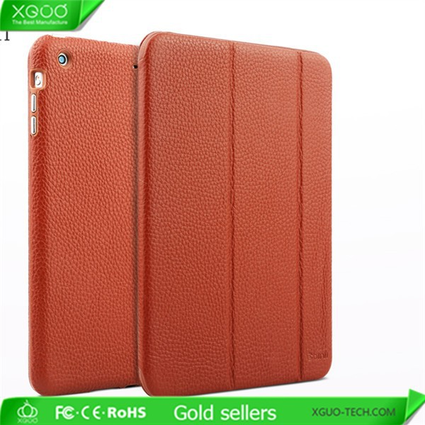 Smart stander full grain leather case for iPad Mini 2 leather case