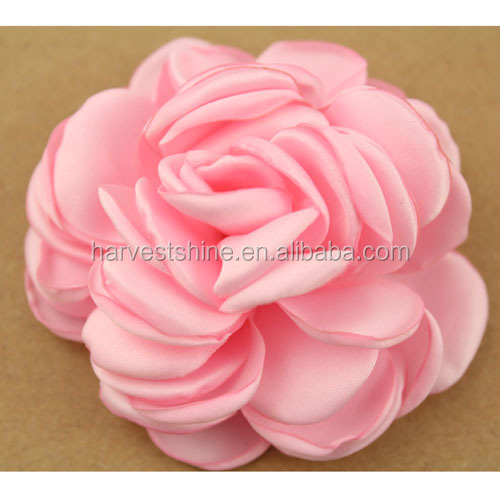 8 CM Burned Satin Rose Flower,Puff Fabric Flower For Hair Accessories/bags/shoes