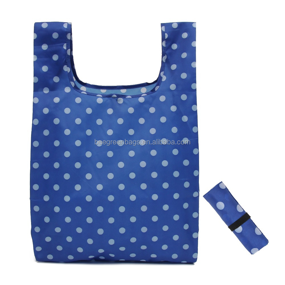 Hot 190T polyester cheap foldable shopping bag for supermarket