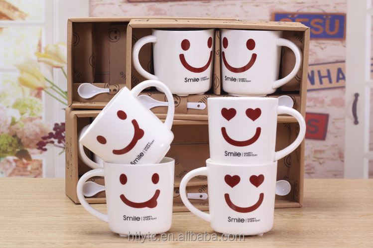 Factory direct OEM logo wholesale promotion gift couple ceramic coffee mugs tea cups with smile face printed
