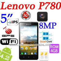 "Lenovo P780 Android 4.2 MTK6589 Quad Core 1.2GHz 5"" HDS IPS LCD 3G/Wifi/RAM 1GB/ROM 4GB /8MP Phone Black"