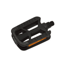 Black plastic bike pedals of electric bicycle spare parts