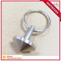 stainless Steel mini Spinning Top with Keychain Portable Metal Spin Top