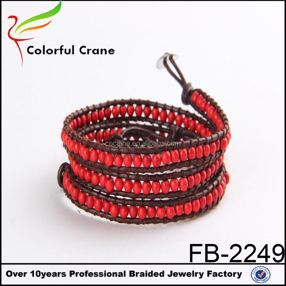 Red turquoise nature stone bead 3X wrap leather bracelet, wrap leather bracelet, leather wrap bracelet wholesale