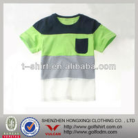 2013 fashion stripe one pocket Kids t shirts