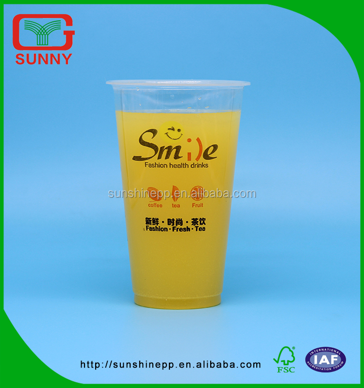 Offset Printing Food Grade Disposable Smoothie Plastic Cup