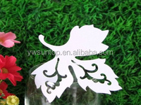 Wedding party decoration Special Design Elegant Leaf Shaped Place Card Laser Cut name card wholesale supplies