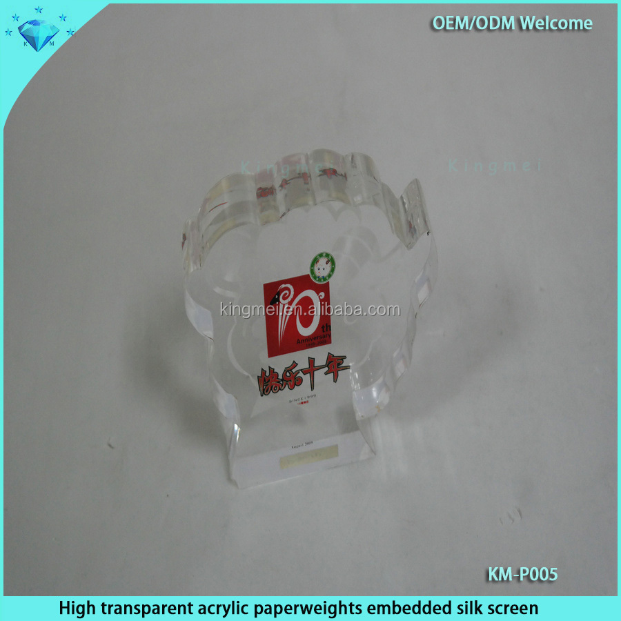 High transparent acrylic paperweights embedded