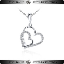 Daihe fine silver jewelry crystal double heart necklace for girls