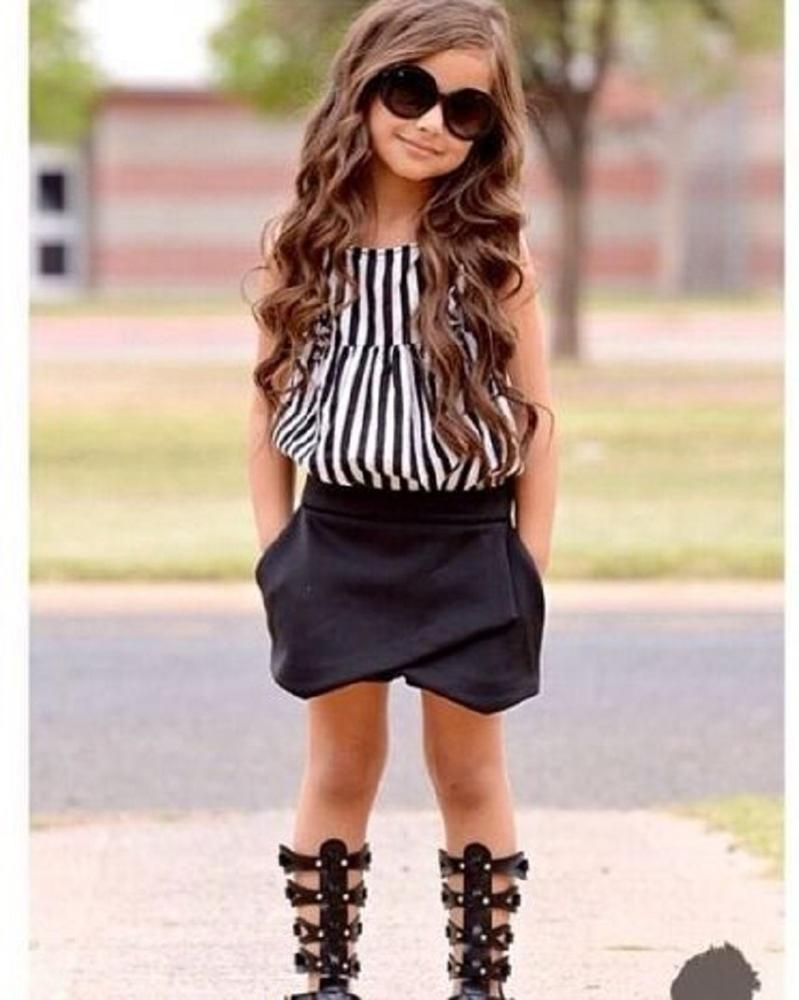2016 New Summer wear Girls Casual TOPS + Short Clothing Set Suit Girls Clothe Fashion wear Striped Cloth