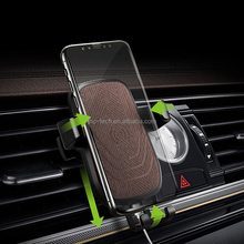 Custom logo 10W cell phone vehicle gravity holder wireless charger car mount for Iphone 8/X