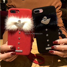 Rhinestone Swan Crystal Crown Pearl Swan Furry Rabbit Fur Hard Cover Back Case For iPhone 7/ 7 Plus/ 8/x Fur Case