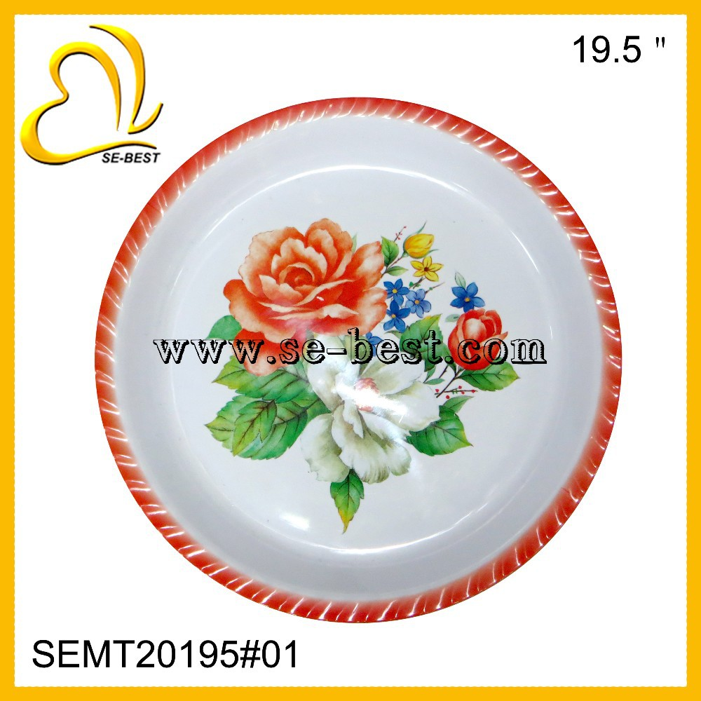 Large melamine round serving tray