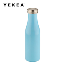 500ml durable double wall kids bicycle stainless steel milk water bottle