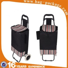 2015 cheap nylon foldable shopping trolley bag with wheels