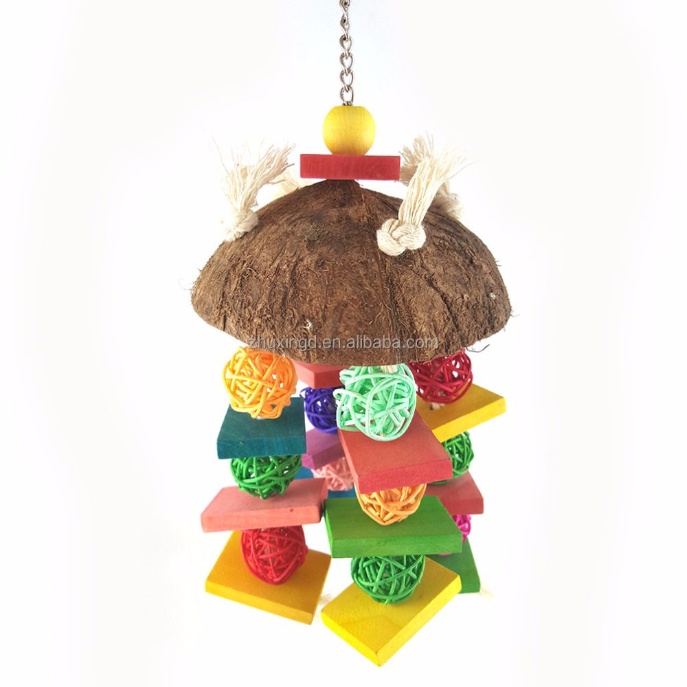 Natural parrot toy, parrot toy recycled coconut shell, bird toys natural