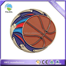 Custom Cheaper Soft Enamel Painted Metal Sports Basketball Medal