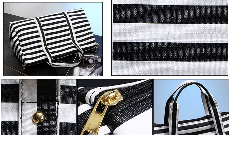 Boarding Bags White Black Stripe Travel Duffel Beach Bag