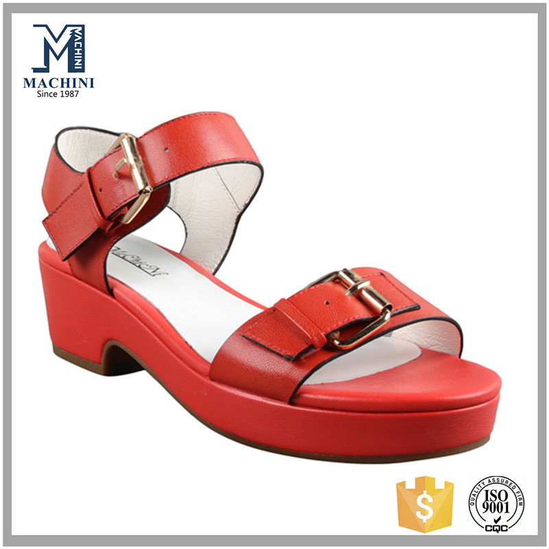 2015 latest girls leather shoes red flat sandals for women