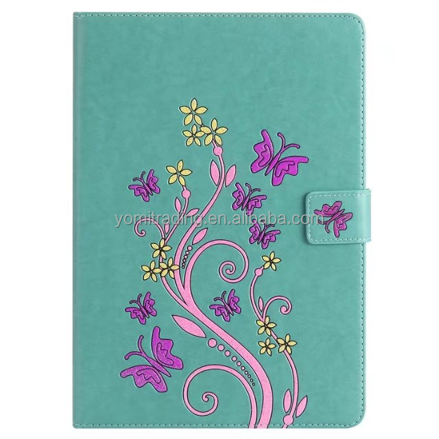 Mint green leather case colorful bufferfly flower flip cover For IPAD PRO 9.7 2016