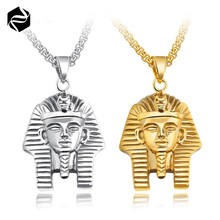 Punk Style Gold And Silver Mens Stainless Steel Ancient Egypt Pharaoh Pendant Chain Necklace Jewelry