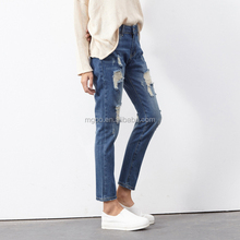 2016 Fashion Design Wholesale Ripped Jeans For Female Loose Stylish Rolled Up Casual Cotton Blue Jeans Rags