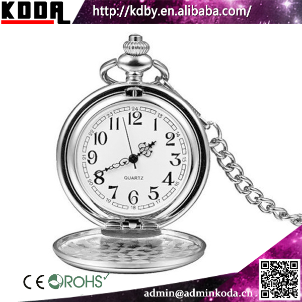 Easy Engraving Classic Plain Polished Silver Mens Wholesale Pocket Watch