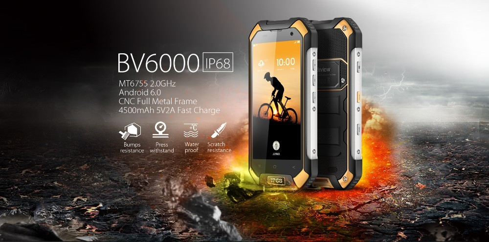 "Wholesale Blackview BV6000 4G NFC Waterproof Smartphone Android 6.0 MT6755 Octa Core 3GB + 32GB 13MP 4.7"" 4200mAh OTG Cellphone"