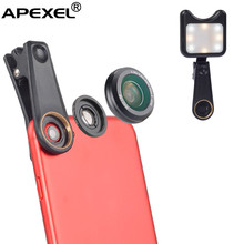 2017 trending mobile phone detachable camera lens premium extra camera wide angle ring selfie light lens for iphone6/6s/7/8