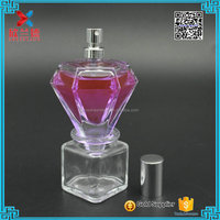 diamond shaped fancy empty glass perfume bottle in 50ml for women