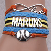 MARLINS new arrivals products baseball braided bracelet jewelry,cheap silver jewelry(PR768)
