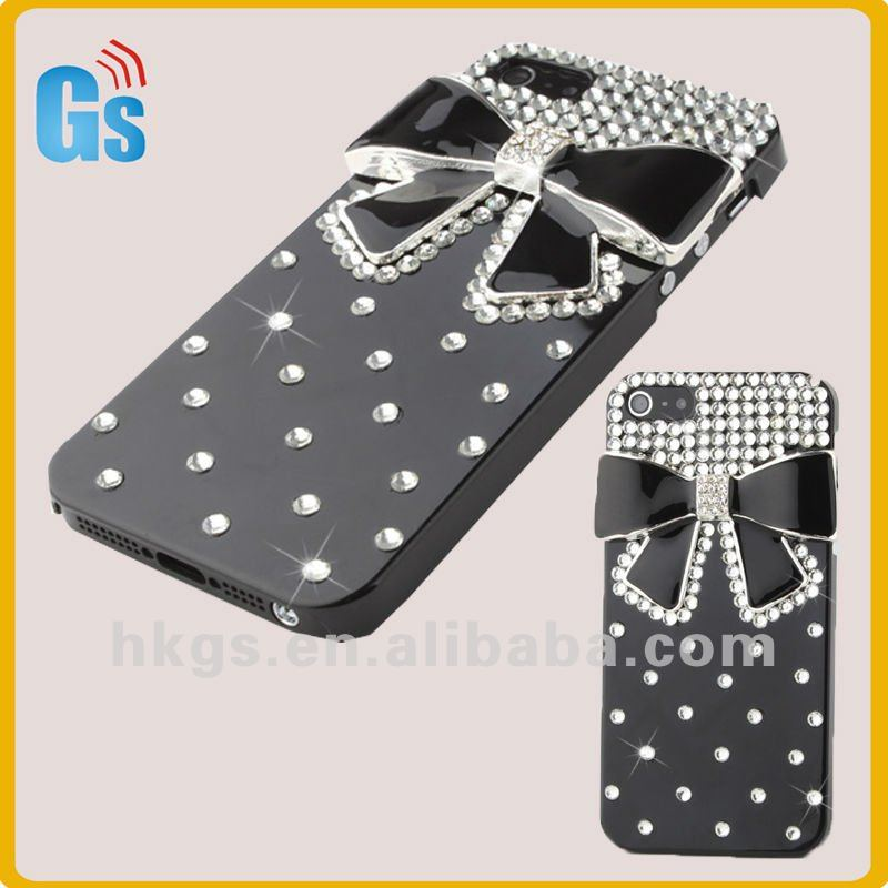 Sparking bow bowknot for i phone5 5s mobile phone case handmade accessories