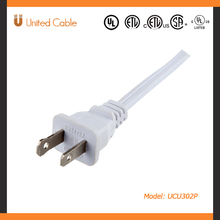 United Cable UCU101P UL Listed CSA Approved Flat Power Supply Cord 2-wire, White, with Nema1-15
