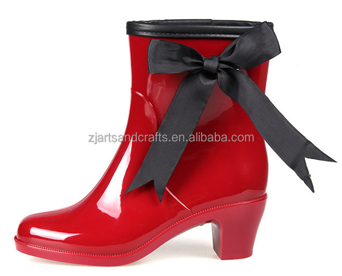 High heel injection pvc rain shoes for women