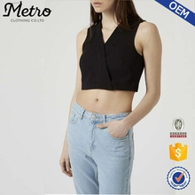 Women 100% Polyester Cross Front Sleeveless Black Crop Tops