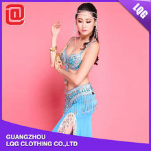 Sexy customizable 2 pieces beaded bra & skirt belly dance costume plus size