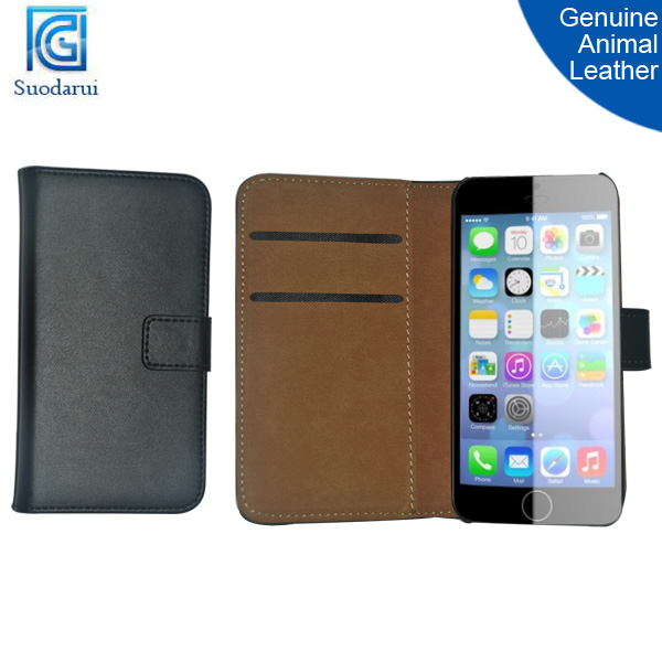 2014 Hot selling Genuine animal leather Wallet Stand Flip Phone cover Case for iphone 6 4.7''