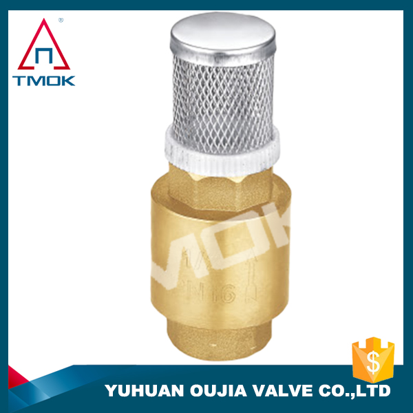 "China manufactuers 3/4"" spring vertical check valve brass foot valve for pumb hot sell stop valve"