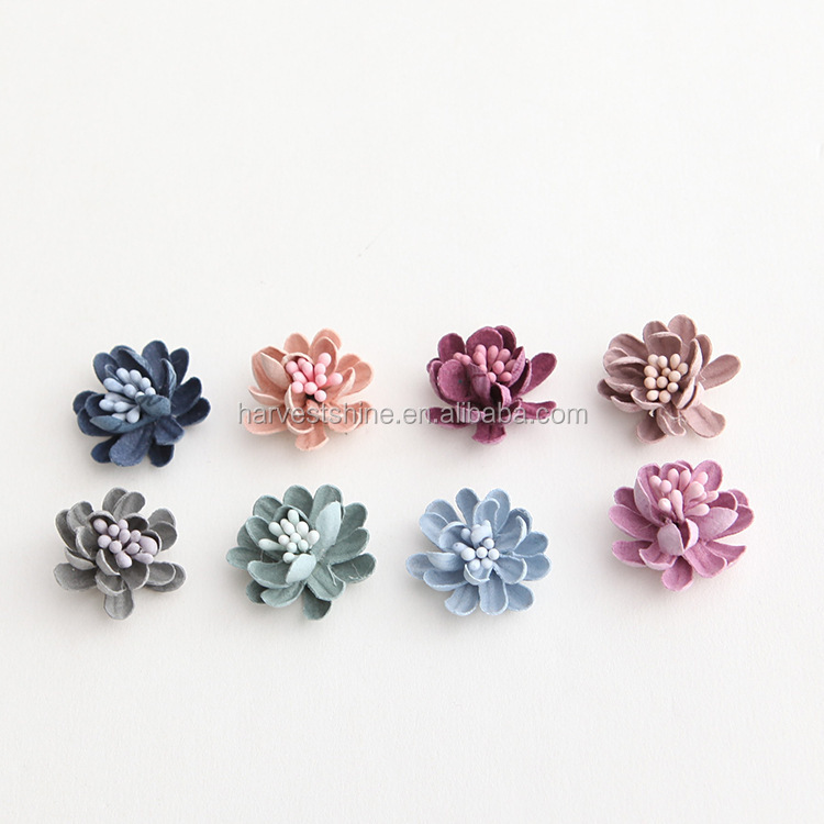 2 cm mini soft leather flower for decoration,diy fabric flower accessories
