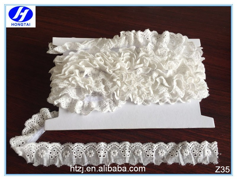 from hongtai vintage cotton strech lace for dress,decorative ruffle lace trim
