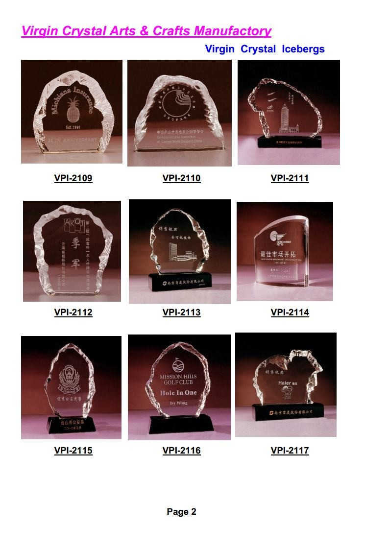 Wholesale 3D laser Engraving crystal iceberg trophy for business souvenir