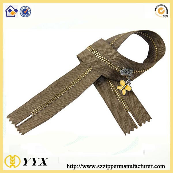 garments accessories shiny brass teeth zippers for coat