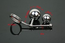 stainless steel butt hooks anal Ball with cock ring 50mm and 38mm ball